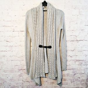 Pattyboutik Gray Cable Knit Cardigan
